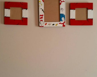 Cat and the hat picture frame set