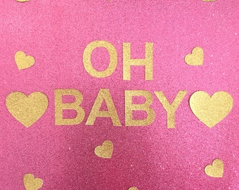 Oh Baby Gold Glitter Baby Shower Bunting Garland Sign (other colours available too)