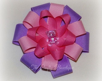 Teddy Bear Bow ~ Pink & Purple Bow ~ Purple Bear Bow ~ Purple Flower Bow ~ Teddy Bear Hair Clip ~ Purple and Pink Bow ~ Round Layered Bow