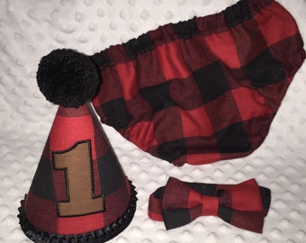 Boys Cake Smash Outfit - Red Black Plaid - Buffalo Plaid - Lumberjack First Birthday Outfit - Diaper Cover, Bow Tie & Birthday Hat -