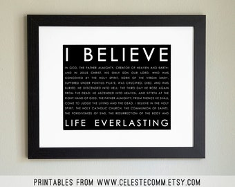 PRINTABLE Apostle's Creed Christian 8x10 inch INSTANT download - religious, print at home, black background