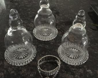 Beautiful  Set of 3 Mini Cloches Crystal Glass Base