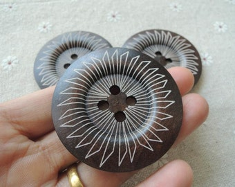5 Pcs 50mm Brown Wood button 2 holes with geometrical pattern  (NW149)