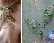 "Elven ear cuffs ""Little forest fairy"" elven ears, elvish accessories, elf earcuff, fairy ears, forest elf, summer fairy, wire ear cuff"