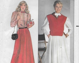 Clearance!!!! Misses Vest, Blouse and Skirt. Size 6,8,10. Butterick 4761. Pattern is uncut. OUT OF PRINT.