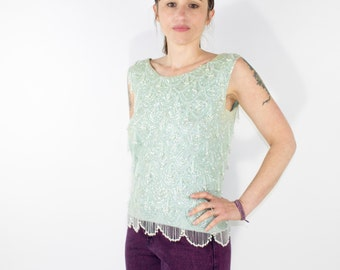 60s Vintage Sequin and Pearl Bead Tank Top | Silk Lined | Size Medium