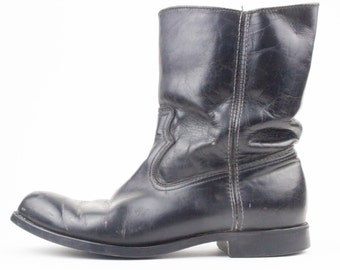 70s Vintage Black Leather Ankle Boots | Rugged Mad Max Style Boots | Men's Size US 8 - UK 7.5 - Euro 40 - 41 | Grunge Goth Biker Shoes