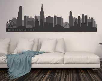 "CHICAGO ILLINOIS Skyline Wall Decal Art Vinyl Decal up to 100"" Many colors Football Basketball colors Cityscape chicago skyline"