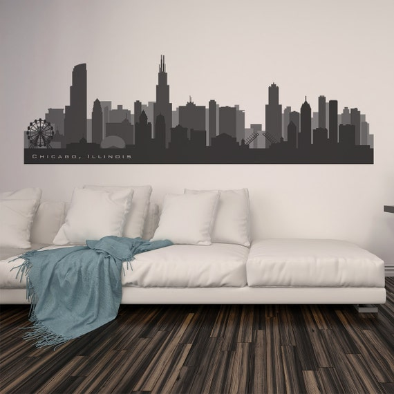 Chicago Illinois Skyline Wall Decal Art Vinyl Decal Up To