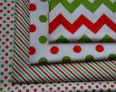 Christmas Fabric Bundle/Red, Green and White/Medium Chevron, Diagonal Stripe, Polka Dots/Riley Blake/Quilting and Crafts/Cotton Fat Quarters