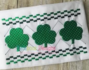 Shamrock Faux Smocking - Shamrock Embroidery Design - St. Patrick's Embroidery Design - St. Patrick's Faux Smocking - Spring Embroidery