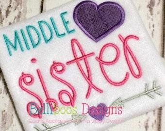 Middle Sister Applique Design - Middle Sister Embroidery Design - Sibling Applique Design - Sibling Embroidery Design - Applique Design