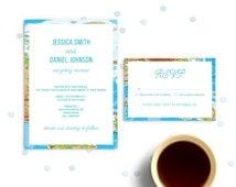 Destination Wedding Invitation Set with Envelope Liner. Bali World Map Invite in Blue.