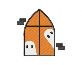 Halloween Orange Ghost Window Machine Embroidery Design