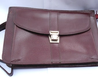 Vintage Real Thick Leather Brown Envelope Bag, Man leather wallet, Gift for him, Travel pouch,Mens Wrist Purse/1990s