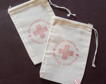 50 x Personalised Wedding Survival Kit Muslin Favour Bags