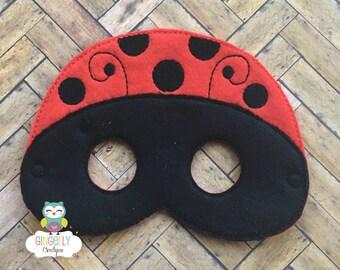 Ladybug Mask, Kids Dress Up Mask, Ladybug Costume Mask, Wool Blend Mask, Felt Ladybug Mask, Jungle Party Favor, Monkey Mask