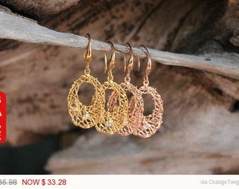 Gold Earrings, Gold Rose Earrings, Dangle earrings, handmade earrings RJEA041