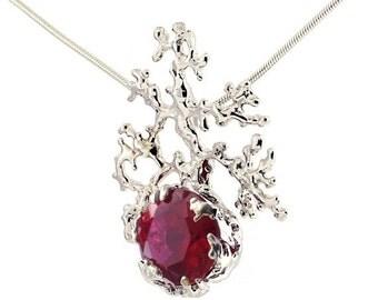 SALE 20% Off - CORAL Unique Ruby Necklace, Large Ruby Pendant Necklace, Silver Ruby Pendant Necklace, Organic Necklace, Statement Necklace