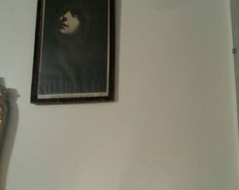 Antique black and white stunning framed picture of Mary at the foot of the cross