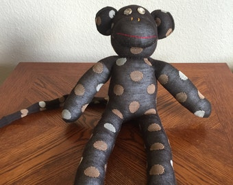 Handcrafted Large Sock Monkey - Brown and Beige Polka Dots
