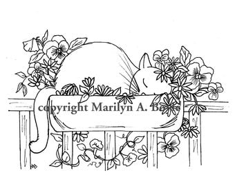 ADULT COLORING PAGE: digital download, cat, flowers, pansies, garden, sleeping cat, flower box, pen and ink, nature,