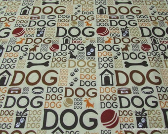 Flannel Fabric - Dog Text Tan - 1 yard - 100 Percent Cotton Flannel