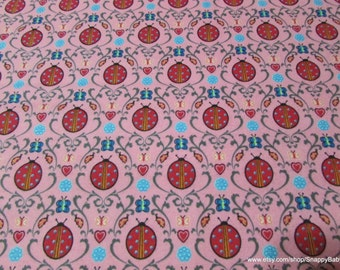 Flannel Fabric - Damask Ladybugs - 1 yard - 100% Cotton Flannel