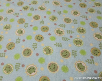 Flannel Fabric - Frogs in Circles - 1 yard - 100% Cotton Flannel