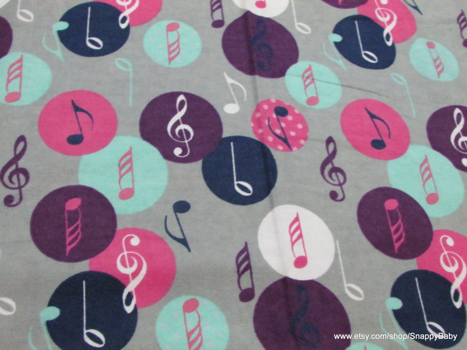 Flannel Fabric Music Notes Purple Pink Blue 1 Yard