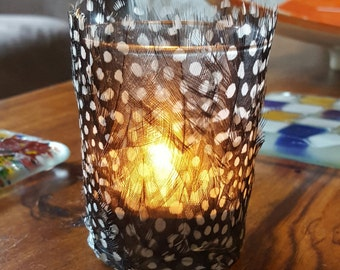 Guinea fowl feather tealight candle holder