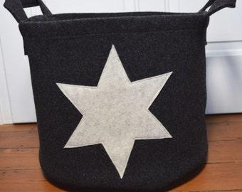 Laundry basket basket wool felt about anthracite light star Zeitungskob