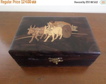Save 10% Today Beautiful Vintage Wooden Treasure Keepsake Jewelry Box with Ox and Cart Excellent Condition