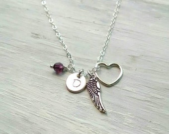 Initial Birthstone Remembrance Necklace - Angel Wing Gift for Loss of Loved One - In Memory Of - Infant, Child, Spouse Loss - Bereavement