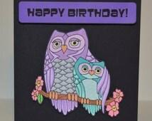 Owls Hugging in Tree Card - Hand Drawn NOT Printed - Personalised 3D Colourful Fun. Get Well Soon Birthday Hug Mum Love Cute Birds Nature