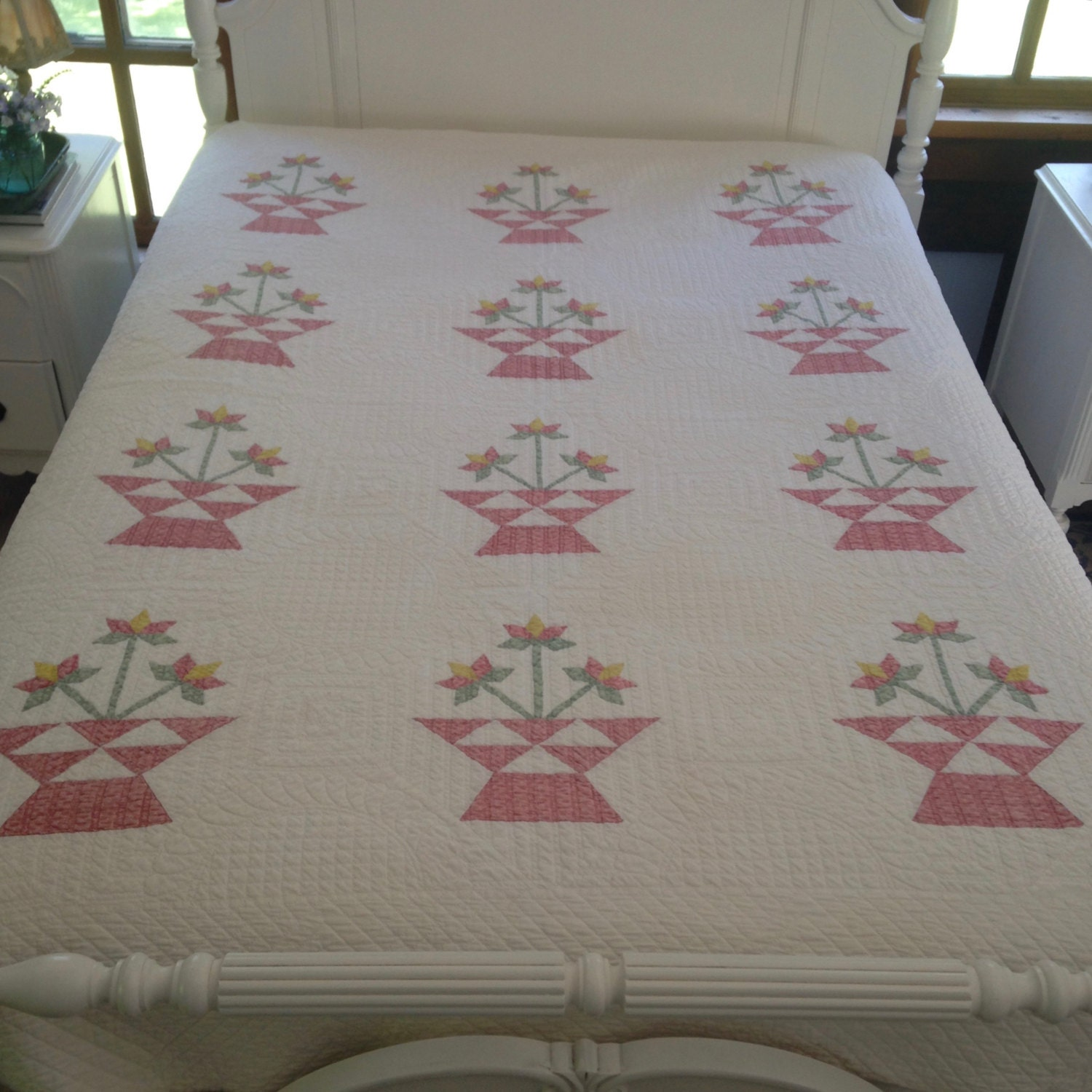 Antique Flower Basket Quilt Hand Pieced And By