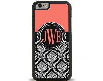 Damask Coral Monogram Personalized iPhone Case, Monogram Personalized Galaxy Case
