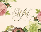 20  Folded Note Cards with Gold Custom Monogram and Antiqued Floral Design