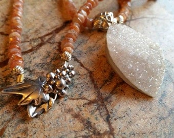 Sterling Silver Agate Drusy and Sunstone Necklace