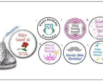 108 Personalized Happy Birthday Labels / Hershey Kiss / Favors/ Envelope Seal