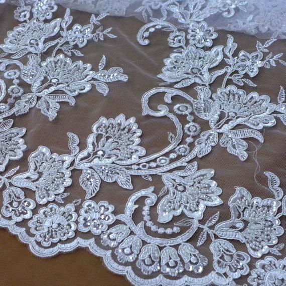 new white heavy beaded wedding dress lace fabric by yard