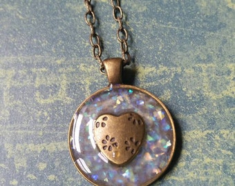 Handmade resin pendant necklace. Opal chips and heart charm