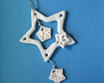 Ceramic Star and Snowflake with Sterling Chain Necklace