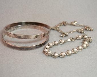 Lot of 4 Silver Tone Bracelets