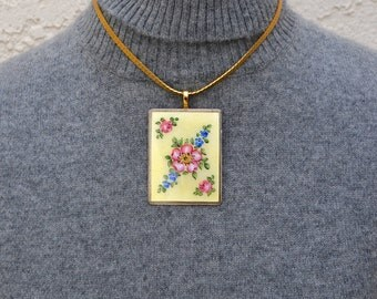 Guilloche Pendant Necklace from Vintage Components