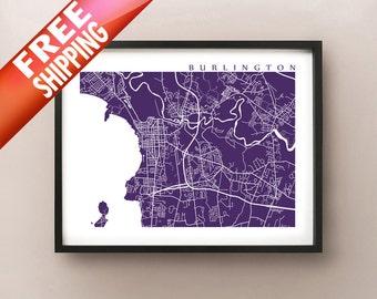 Burlington Map Print, Vermont Art Poster