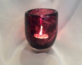 Aubergine Blown Glass Votive.  Hand Blown Glass Votive Holder / Candle Holder.