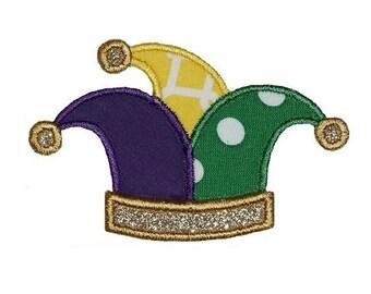 Jester Hat Mardi Gras Embroidery Design 4x4
