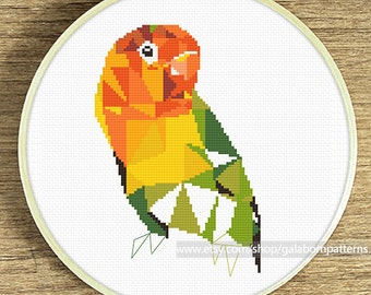 Geometric cross stitch pattern, Lovebird cross stitch pattern, Parrot, Counted cross stitch pattern, Bird cross stitch, Cross stitch chart