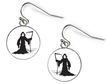 GRIM REAPER - HALLOWEEN - Glass Picture Earrings - Silver Plated (Art Print Photo AN31)